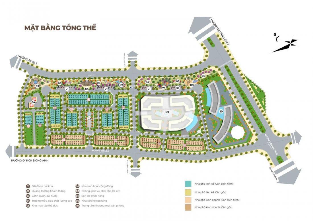 Mặt bằng tổng thể dự án Calyx Residence Đông Anh Hà Nội