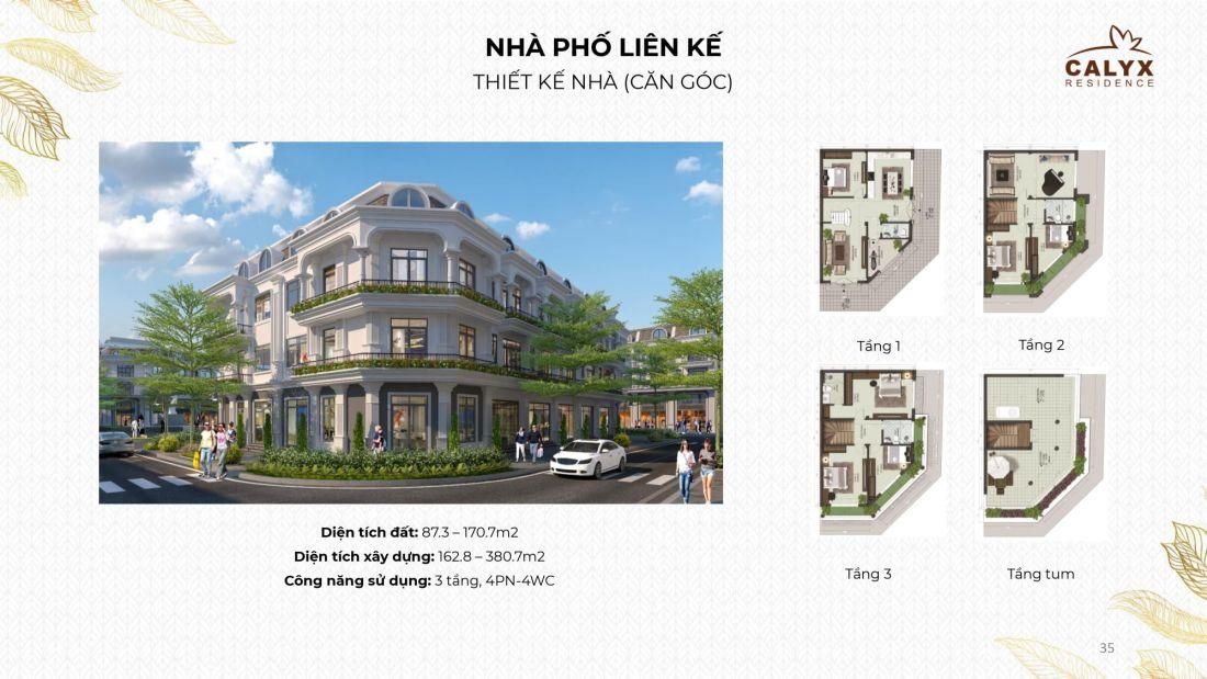 Nhà phố liên kếdự án Calyx Residence Hà Nội