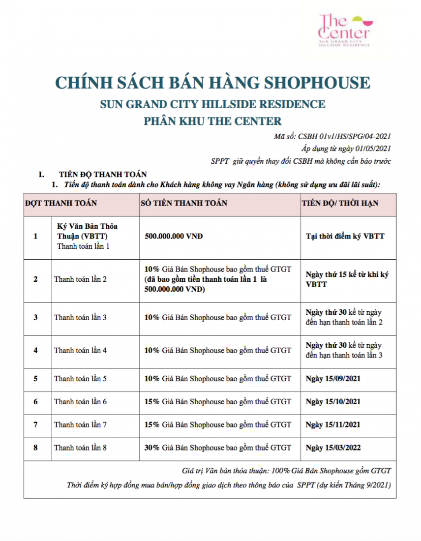 Tiến độ thanh toán phân khu Shophouse The Center Hillside Phú Quốc