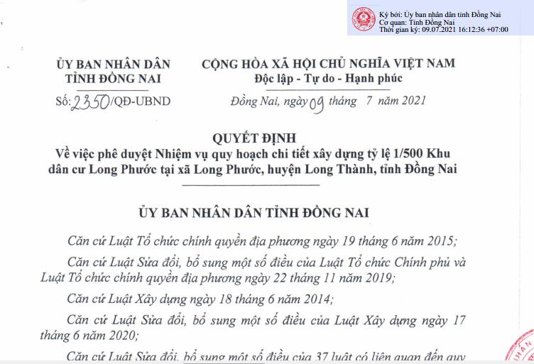 Đồng Nai: Quy hoạch dự án khu dân cư 46 ha tại Long Thành
