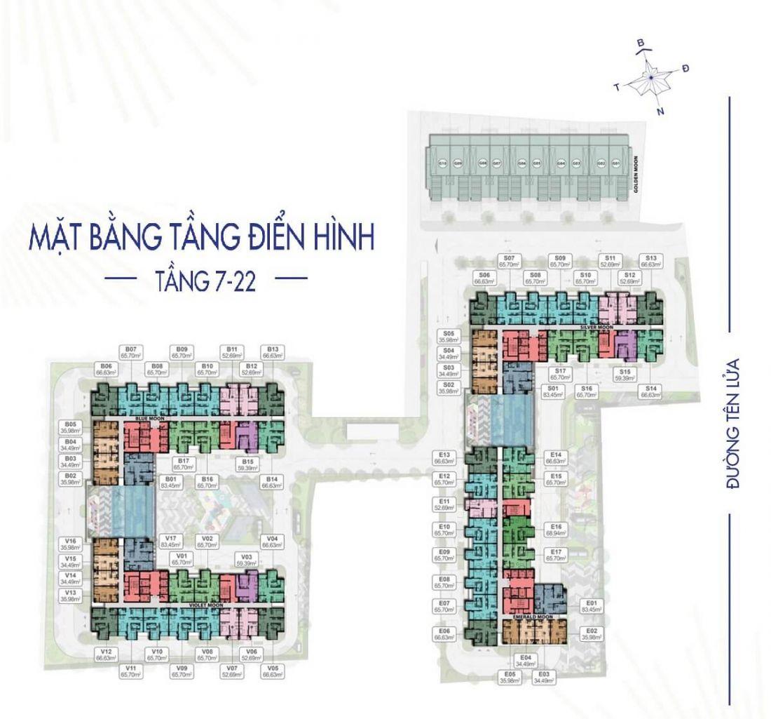 Mặt bằng tầng điển hình dự án căn hộMoonlight Centre Point Bình Tân