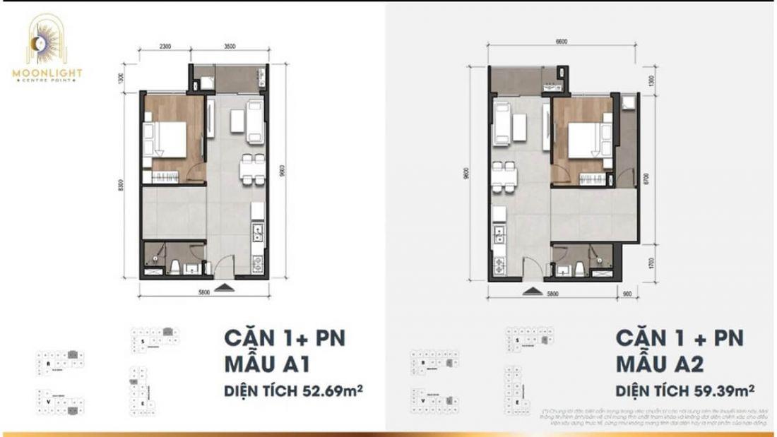 Căn hộ1 phòng ngủ  dự án Moonlight Centre Point Bình Tân