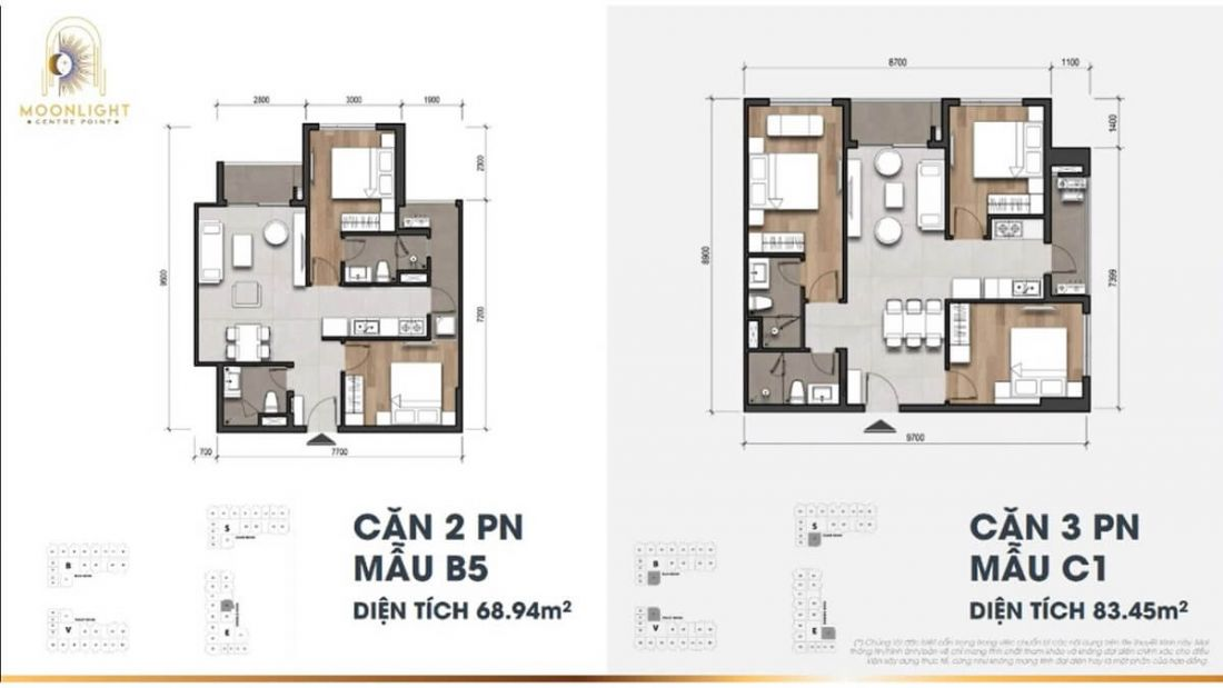 Căn hộ2 phòng ngủ  dự án Moonlight Centre Point Bình Tân