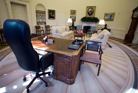 Presidents generally change the office to suit their personal taste, choosing new furniture and new drapery and selecting paintings.
