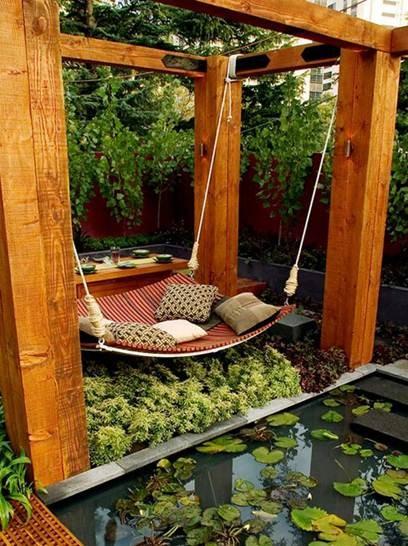 Kiểu giường đong đưa ngoài trời dành cho cả nhà